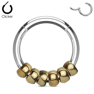 Anneau acier à perles dorées (segment clips)