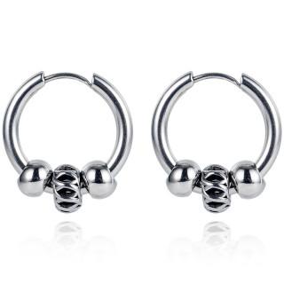 Anneaux d'oreilles homme acier à trio de perles asymétriques (paire)