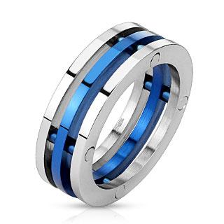 Bague homme en acier bleu et argenté avec trio d'anneaux