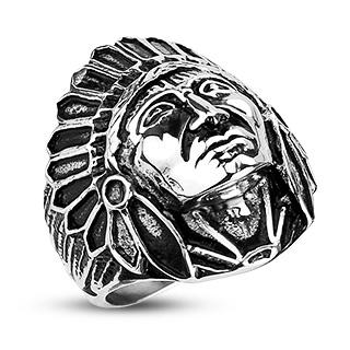 Bague homme en acier à tête de chef indien Apache