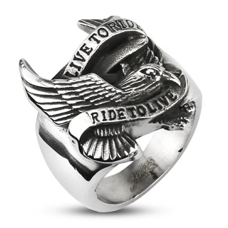 Chevalière en acier Live to Ride - Ride to Live avec aigle