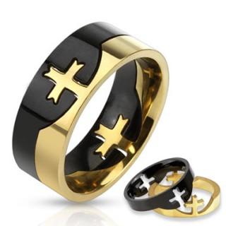 Bague homme noire et dorée en acier style puzzle avec croix