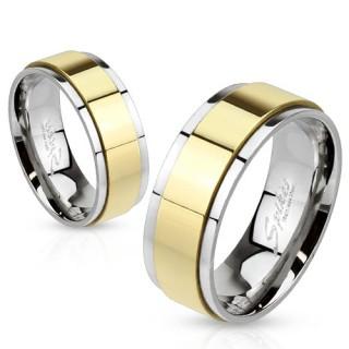 Bague homme en acier avec anneau anti-stress doré