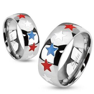 Bague homme en acier avec étoiles tricolores bleu, blanc, rouge