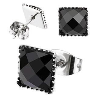 Boucles d'oreilles carrés à pierres noires facettées
