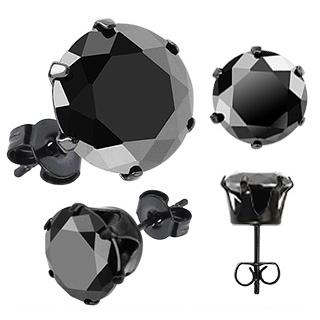Boucles d'oreilles homme Dark Hexagon