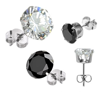 Boucles d'oreilles homme Silver Hexagon