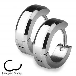 Boucles d'oreille acier à bordures biseautées