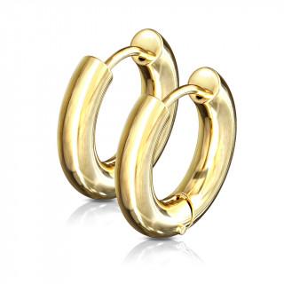 Boucles d'oreilles créoles épaisses dorées en acier (paire)