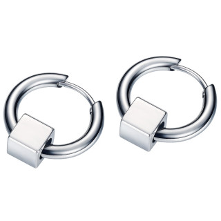 Boucles d'oreilles homme acier à cube (paire)