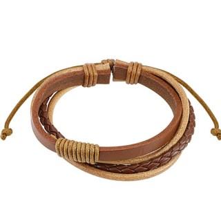 Bracelet à lanière, tresse et lacets en cuir marron
