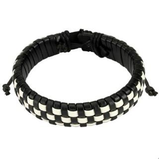 Bracelet en cuir à damier noir et blanc