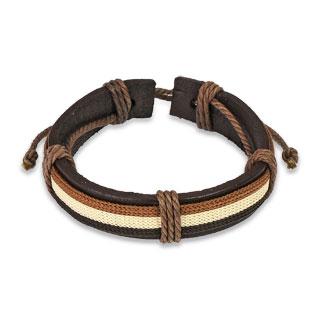 Bracelet en cuir marron avec tissage tricolore