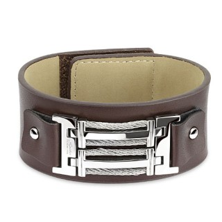 Bracelet homme en cuir marron et acier avec filins