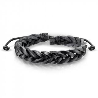 Bracelet en cuir noir tressé
