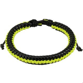 Bracelet en cuir tressé noir et jaune fluo