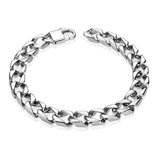 Bracelet homme en acier à maillons carrés