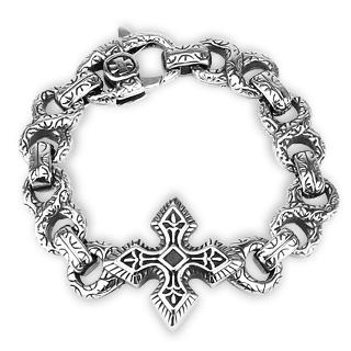 Bracelet homme en acier à maillons sculptés et croix celtique