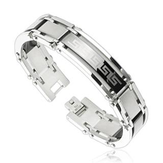 Bracelet homme en acier avec bande noire à frise labyrinthe
