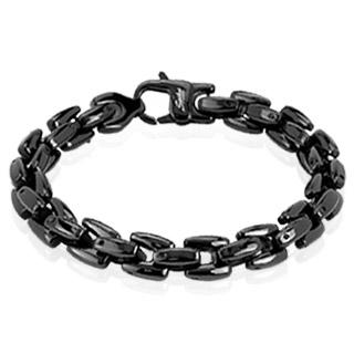 Bracelet homme en acier noir à mailles carrées