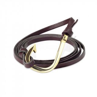 Bracelet homme attache hameçon doré à bande de cuir