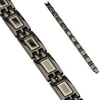 Bracelet homme en acier à plaques noires laquées avec motif labyrinthe