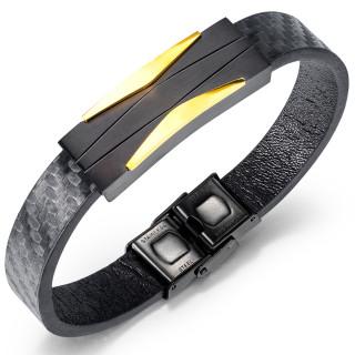 Bracelet homme à plaque d'acier style futuriste noire et dorée
