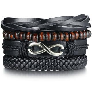 Bracelet homme similicuir à symbole infini et perles de bois