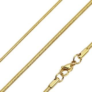 Chaine homme en acier à mailles serpent fines et dorées
