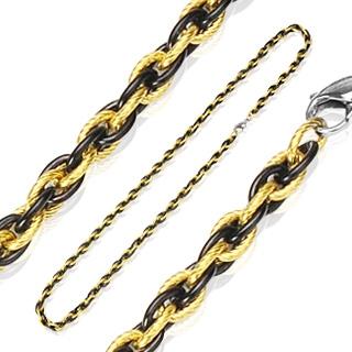 Chaîne homme en acier à entrelas d'anneaux ovales noirs et dorés