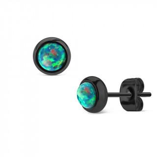 Clous d'oreille en acier noir à opale verte