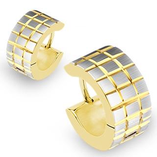 Paire de boucles d'oreilles homme en acier argenté et doré style gauffré