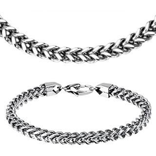 """Parure collier et bracelet acier à mailles en """"V"""" tressées"""