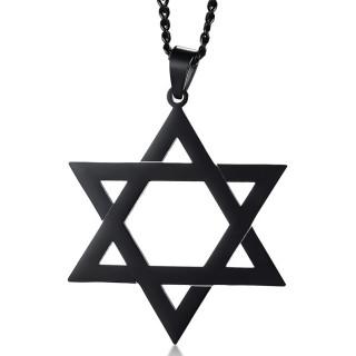 Pendentif étoile de David noire en acier