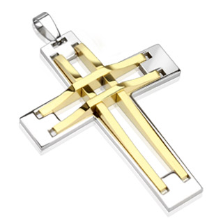 Pendentif homme en acier bicolore croix à structure dorée