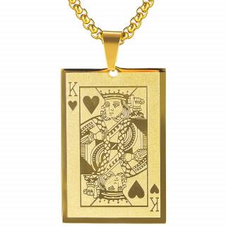 Pendentif homme acier doré carte roi de coeur