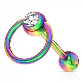 Piercing langue arc en ciel à boule sertie avec anneau