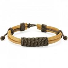 Bracelet en cuir beige avec cordage brun