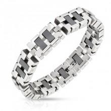 Bracelet homme en acier à gros maillons rectangulaires argentés et noirs