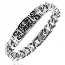 Bracelet homme en acier à plaque vieillie gravée et croix celtique