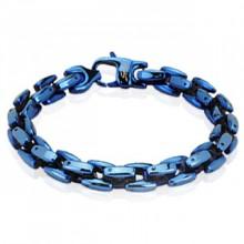 Bracelet homme en acier bleu à mailles carrées