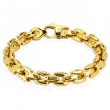 Bracelet homme en acier doré à mailles carrées