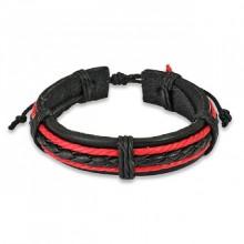 Bracelet rouge et noir avec lanière et tresse cuir