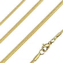 Chaine homme en acier à mailles serpent ovales et dorées
