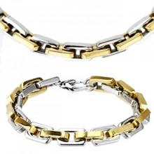 Parure collier et bracelet acier à mailles rectangulaires bicolores