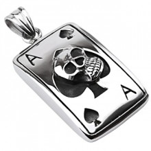 Pendentif acier carte as de pique avec tête de mort
