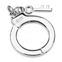 Pendentif acier en forme de menotte avec clé