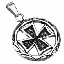 Pendentif acier médaillon celtique avec croix