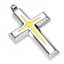 Pendentif homme en acier croix avec étoile dorée au centre