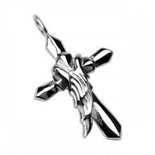 Pendentif homme en acier croix et aile d'ange